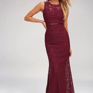 MUSIC OF THE HEART BURGUNDY LACE MAXI DRESS